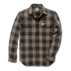 carhartt HUBBARD SLIM FIT FLANNEL SHIRT BURNT OLIVE